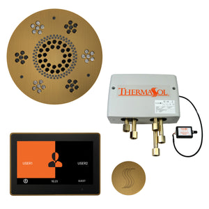 "The Total Wellness Package with 10"" ThermaTouch Trim Upgraded, by ThermaSol Antique Brass"