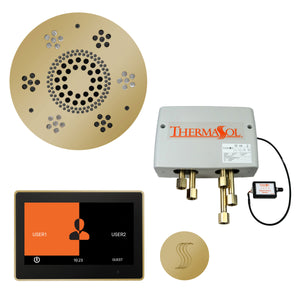 "The Total Wellness Package with 10"" ThermaTouch Trim Upgraded, by ThermaSol Polished Brass"