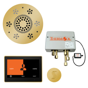 "The Total Wellness Package with 10"" ThermaTouch Trim Upgraded, by ThermaSol polished gold"