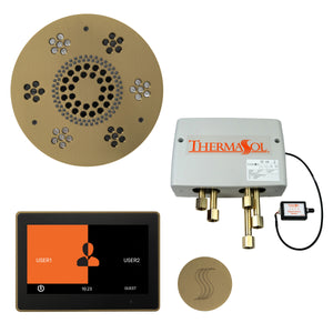 "The Total Wellness Package with 10"" ThermaTouch Trim Upgraded, by ThermaSol satin brass"