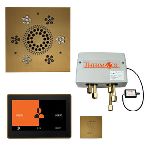 "The Total Wellness Package with 10"" ThermaTouch Trim Upgraded, by ThermaSol square antique brass"
