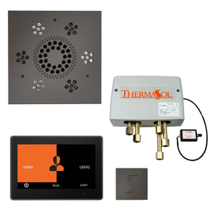 "The Total Wellness Package with 10"" ThermaTouch Trim Upgraded, by ThermaSol square black nickel"