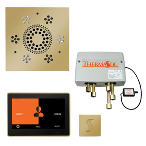 "The Total Wellness Package with 10"" ThermaTouch Trim Upgraded, by ThermaSol square polished brass"