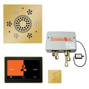 "The Total Wellness Package with 10"" ThermaTouch Trim Upgraded, by ThermaSol square polished gold"