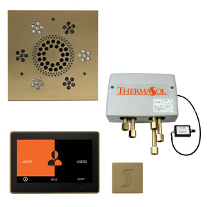 "The Total Wellness Package with 10"" ThermaTouch Trim Upgraded, by ThermaSol square satin brass"