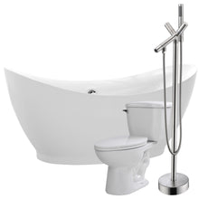 Load image into Gallery viewer, Reginald 68 in. Acrylic Flatbottom Non-Whirlpool Bathtub with Havasu Faucet and Kame 1.28 GPF Toilet