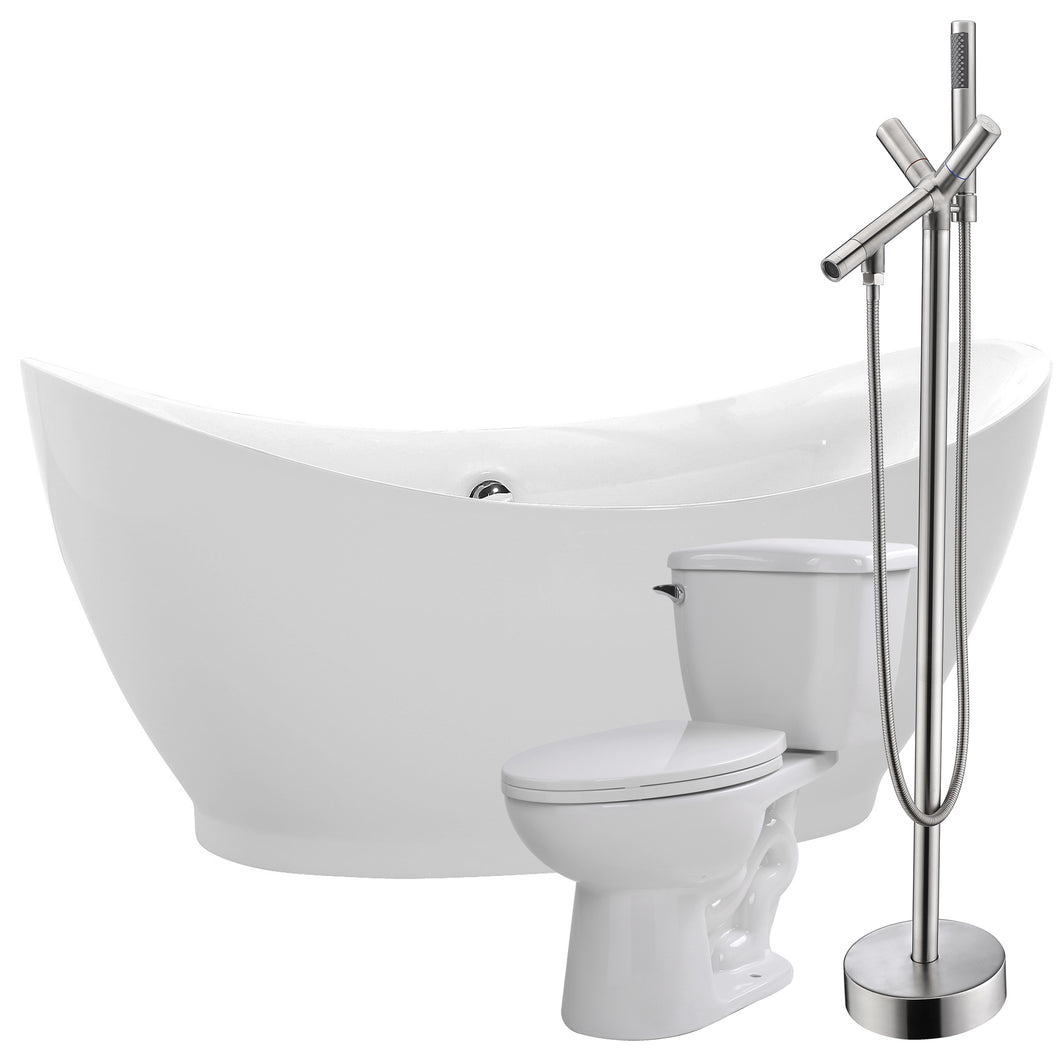 Reginald 68 in. Acrylic Flatbottom Non-Whirlpool Bathtub with Havasu Faucet and Kame 1.28 GPF Toilet
