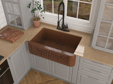 Load image into Gallery viewer, Macedonian Farmhouse Handmade Copper 33 in. 0-Hole Single Bowl Kitchen Sink with Flower Bed Design Panel in Polished Antique Copper