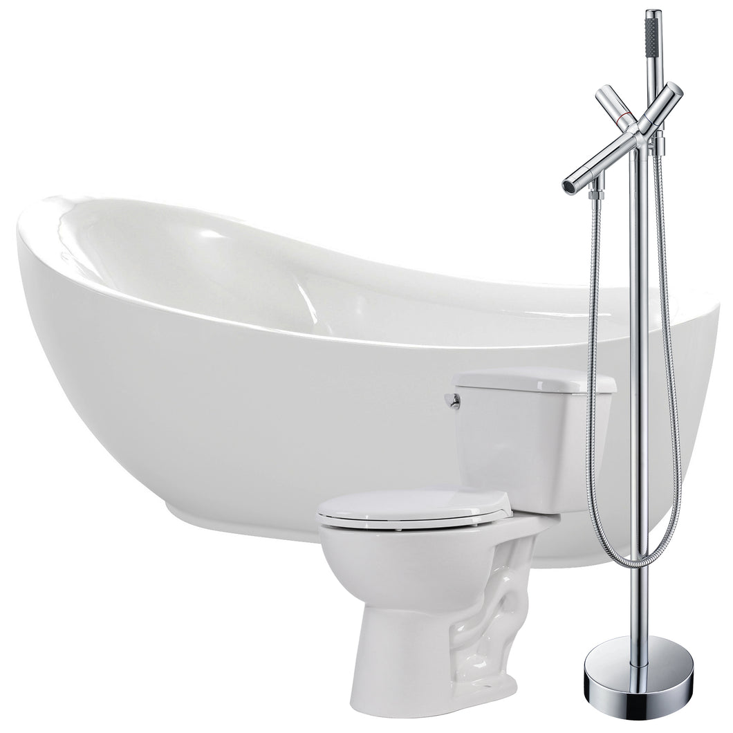Talyah 71 in. Acrylic Soaking Bathtub with Havasu Faucet and Cavalier 1.28 GPF Toilet