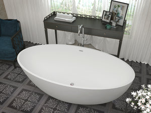 Hangiri 5.5 ft. Solid Surface Center Drain Freestanding Bathtub in Matte White