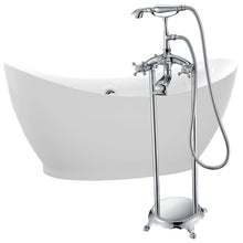 Load image into Gallery viewer, Reginald 68 in. Acrylic Soaking Bathtub in White with Tugela Faucet in Polished Chrome