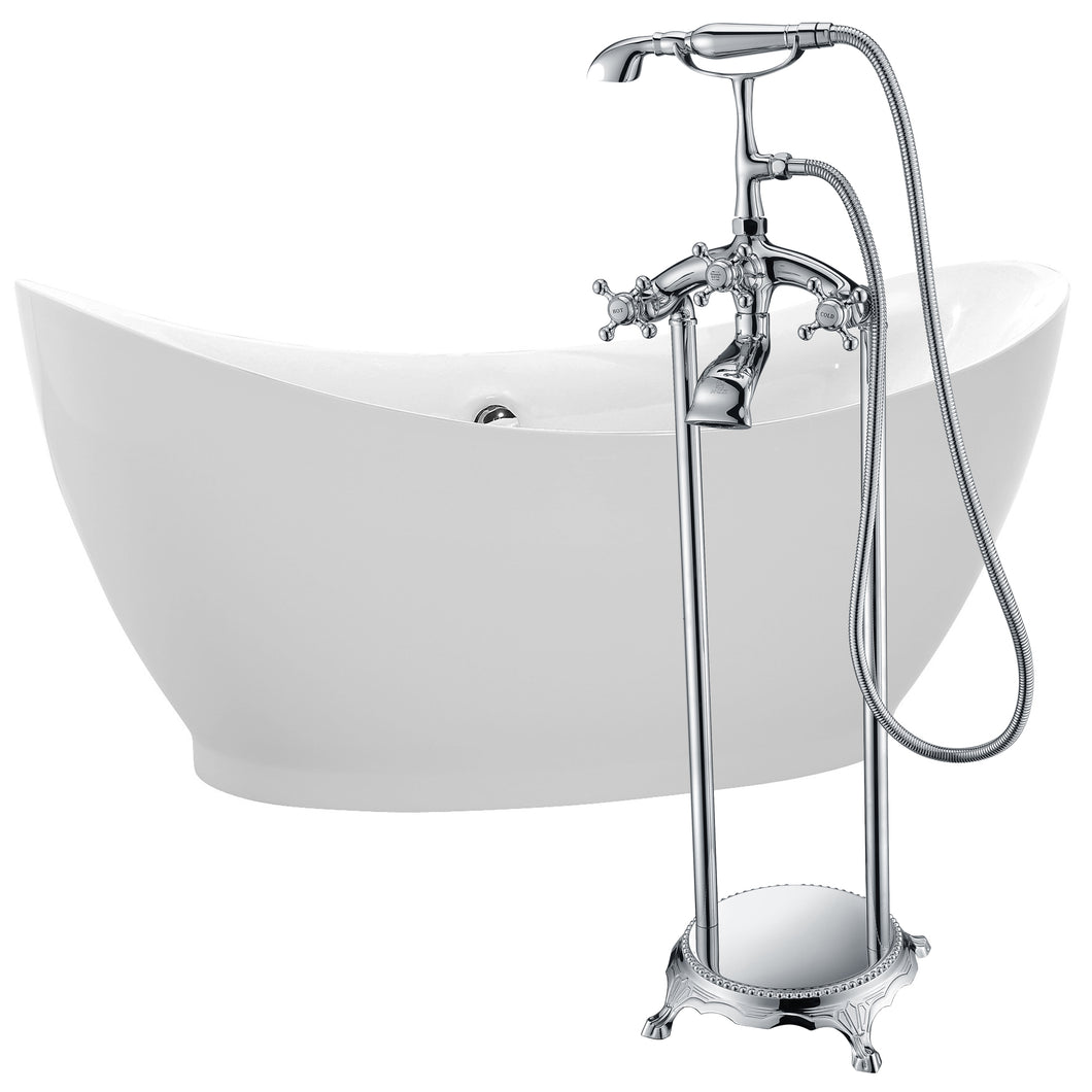 Reginald 68 in. Acrylic Soaking Bathtub in White with Tugela Faucet in Polished Chrome