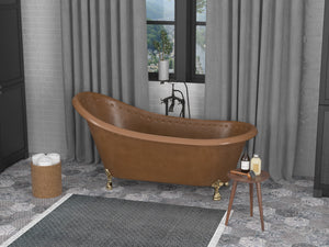 Sivas 66 in. Handmade Copper Slipper Clawfoot Non-Whirlpool Bathtub in Hammered Antique Copper