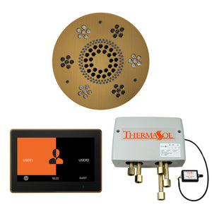 The Wellness Shower Package with ThermaTouch by ThermaSol 10 inch round antique brass