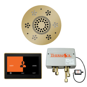 The Wellness Shower Package with ThermaTouch by ThermaSol 10 inch round polished brass