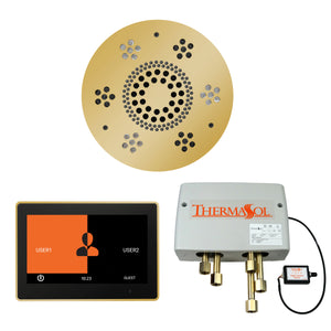 The Wellness Shower Package with ThermaTouch by ThermaSol 10 inch round polished gold