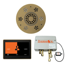 Load image into Gallery viewer, The Wellness Shower Package with ThermaTouch by ThermaSol 10 inch round satin brass