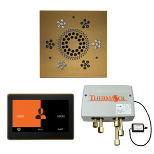 The Wellness Shower Package with ThermaTouch by ThermaSol 10 inch square antique brass