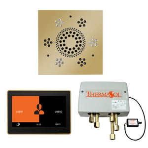The Wellness Shower Package with ThermaTouch by ThermaSol 10 inch square polished brass