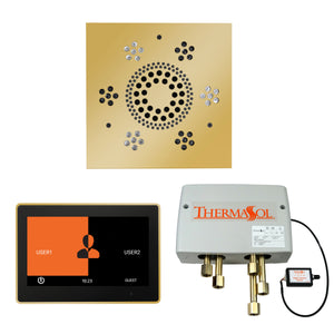 The Wellness Shower Package with ThermaTouch by ThermaSol 10 inch square polished gold