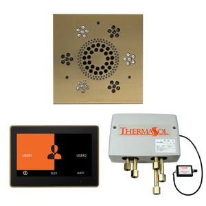 The Wellness Shower Package with ThermaTouch by ThermaSol 10 inch square satin brass