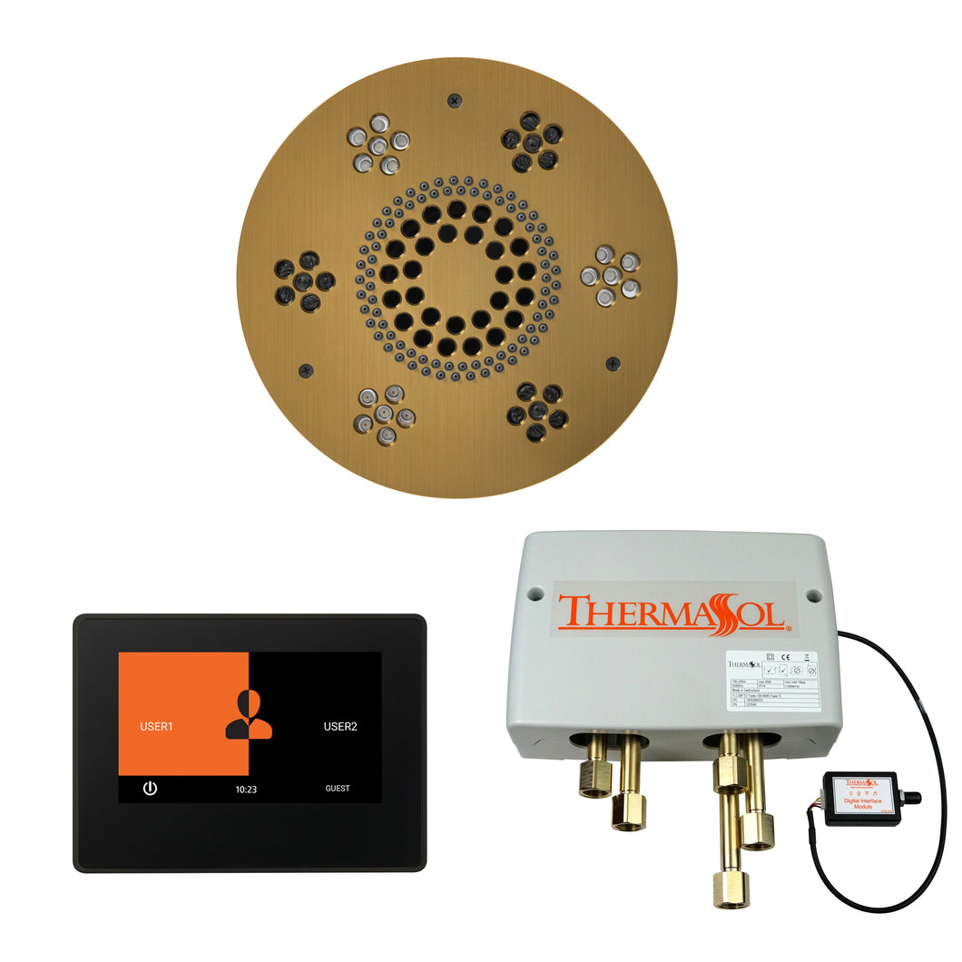 The Wellness Shower Package with ThermaTouch by ThermaSol 7inch round antique brass
