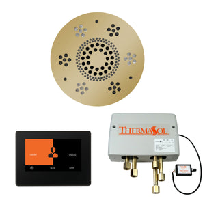 The Wellness Shower Package with ThermaTouch by ThermaSol 7 inch round polished brass