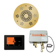 Load image into Gallery viewer, The Wellness Shower Package with ThermaTouch by ThermaSol 7 inch round polished gold