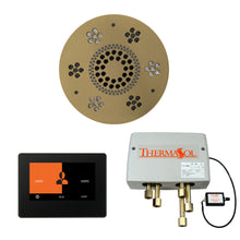 Load image into Gallery viewer, The Wellness Shower Package with ThermaTouch by ThermaSol 7 inch round satin brass