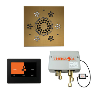 The Wellness Shower Package with ThermaTouch by ThermaSol 7 inch square antique brass