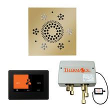 Load image into Gallery viewer, The Wellness Shower Package with ThermaTouch by ThermaSol 7 inch square polished brass