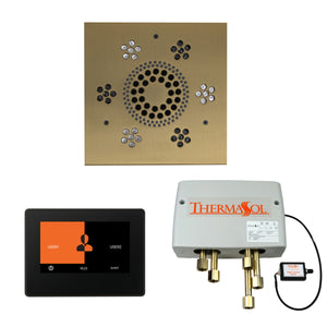 The Wellness Shower Package with ThermaTouch by ThermaSol 7 inch square satin brass