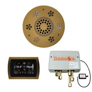 The Wellness Shower Package with SignaTouch Trim Upgraded by ThermaSol round antique brass