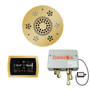 The Wellness Shower Package with SignaTouch Trim Upgraded by ThermaSol round polished gold