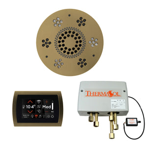 The Wellness Shower Package with SignaTouch Trim Upgraded by ThermaSol round satin brass