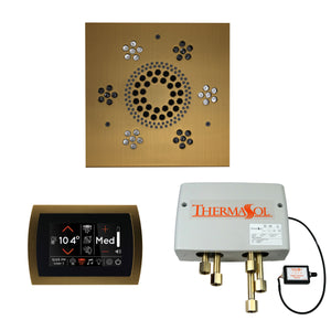 The Wellness Shower Package with SignaTouch Trim Upgraded by ThermaSol square antique brass