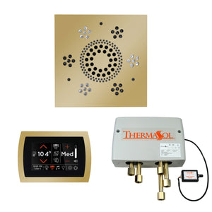 The Wellness Shower Package with SignaTouch Trim Upgraded by ThermaSol square polished brass