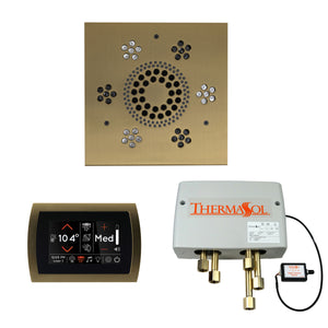 The Wellness Shower Package with SignaTouch Trim Upgraded by ThermaSol square satin brass