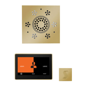 The Wellness Steam Package with ThermaTouch by ThermaSol 10 inch square polished brass