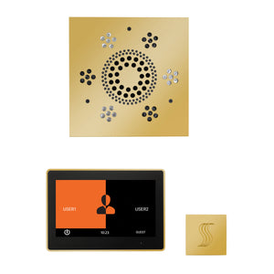 The Wellness Steam Package with ThermaTouch by ThermaSol 10 inch square polished gold
