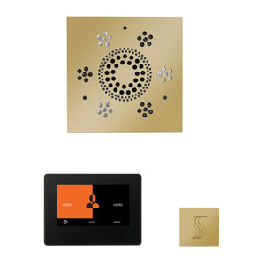 The Wellness Steam Package with ThermaTouch by ThermaSol 7 inch square polished brass