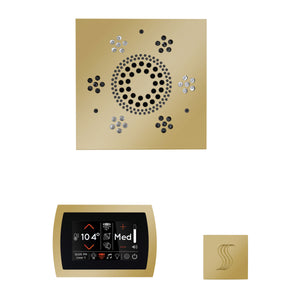 The Wellness Steam Package with SignaTouch by ThermaSol square polished brass trim upgraded