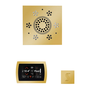 The Wellness Steam Package with SignaTouch by ThermaSol square polished gold trim upgraded