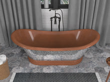 Load image into Gallery viewer, Theodosius 68 in. Handmade Copper Double Slipper Flatbottom Non-Whirlpool Bathtub in Polished Antique Copper