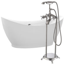 Load image into Gallery viewer, Reginald 68 in. Acrylic Soaking Bathtub in White with Tugela Faucet in Brushed Nickel
