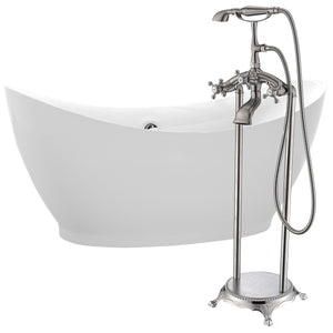 Reginald 68 in. Acrylic Soaking Bathtub in White with Tugela Faucet in Brushed Nickel