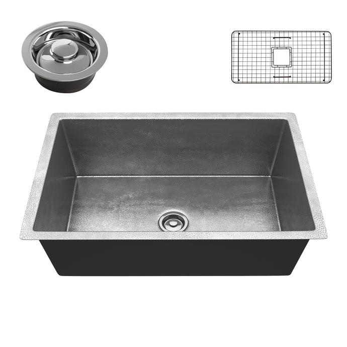 Tereus Drop-in Handmade Copper 30 in. 0-Hole Single Bowl Kitchen Sink in Hammered Nickel