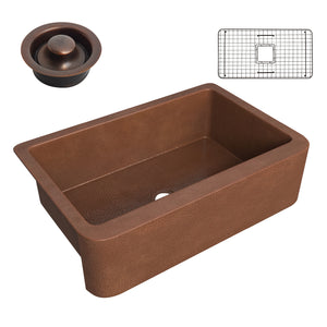 Miletus Farmhouse Handmade Copper 33 in. 0-Hole Single Bowl Kitchen Sink in Hammered Antique Copper
