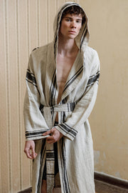 Solo linen robe stripes