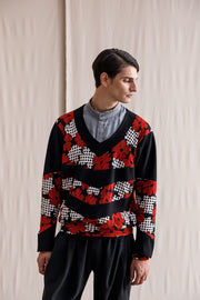 Mom patterned sweater red